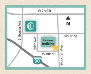 Patient Financial Services has moved! Now at 900 W. Eighth Street. The new location has convenient parking with easy access to pay your clinic and hospital bills, or visit with a financial counselor.